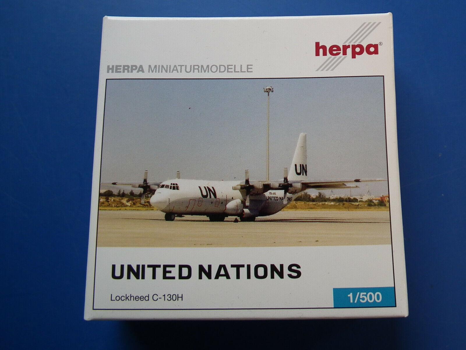 1 500 Herpa U.S. Air Force Lockheed C-130H- UNITED NATIONS-OVP Blister ungeöffne