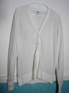 abbc836975db Vintage IZOD Lacoste M Women Cardigan Sweater Off White USA Acrylic ...