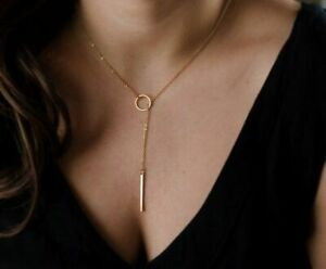 Ring-Stab-Anhaenger-Halskette-Kette-Farbe-Gold-Silber-Damen-Schmuck