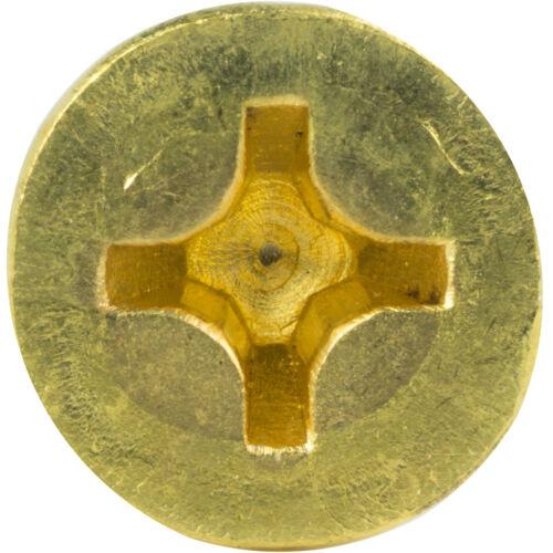 """#6 x 1-3//4/"""" Solid Brass Wood Screws Flat Head Phillips Drive Qty 50"""