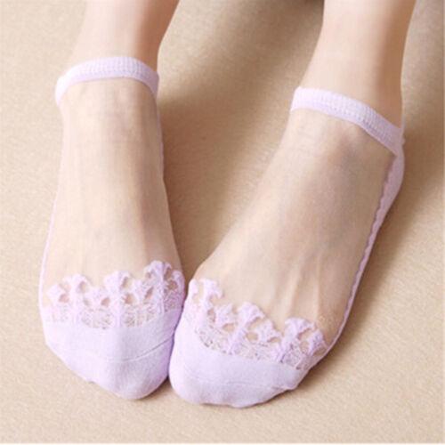 5Pcs Women Cute Ultrathin Transparent Crystal Silk Lace Elastic Short Ankle Sock
