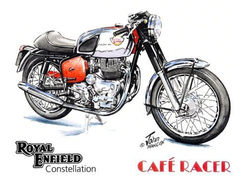 Royal Enfield Cafe Racer British 1960s Rocker Motorbike Motorcycle Birthday Card