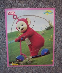 Vintage-TELETUBBIES-WOOD-FRAME-TRAY-WOODEN-PUZZLE-PLAYSKOOL-RED-PO-Scooter