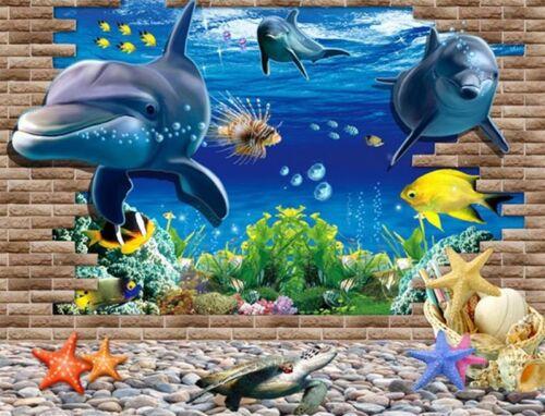 3D Ocean Dolphin Removable Vinyl Decal Wall Sticker Art Mural Room Decor New