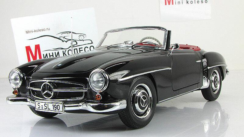 productos creativos Coche escala 1 18, Mercedes-Benz 190 SL (W121) 1955 1955 1955 Negro  primera vez respuesta