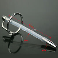 Stainless Steel Through Hole Urethral Sounds Silicone Tube Plug W Ring Us Ship