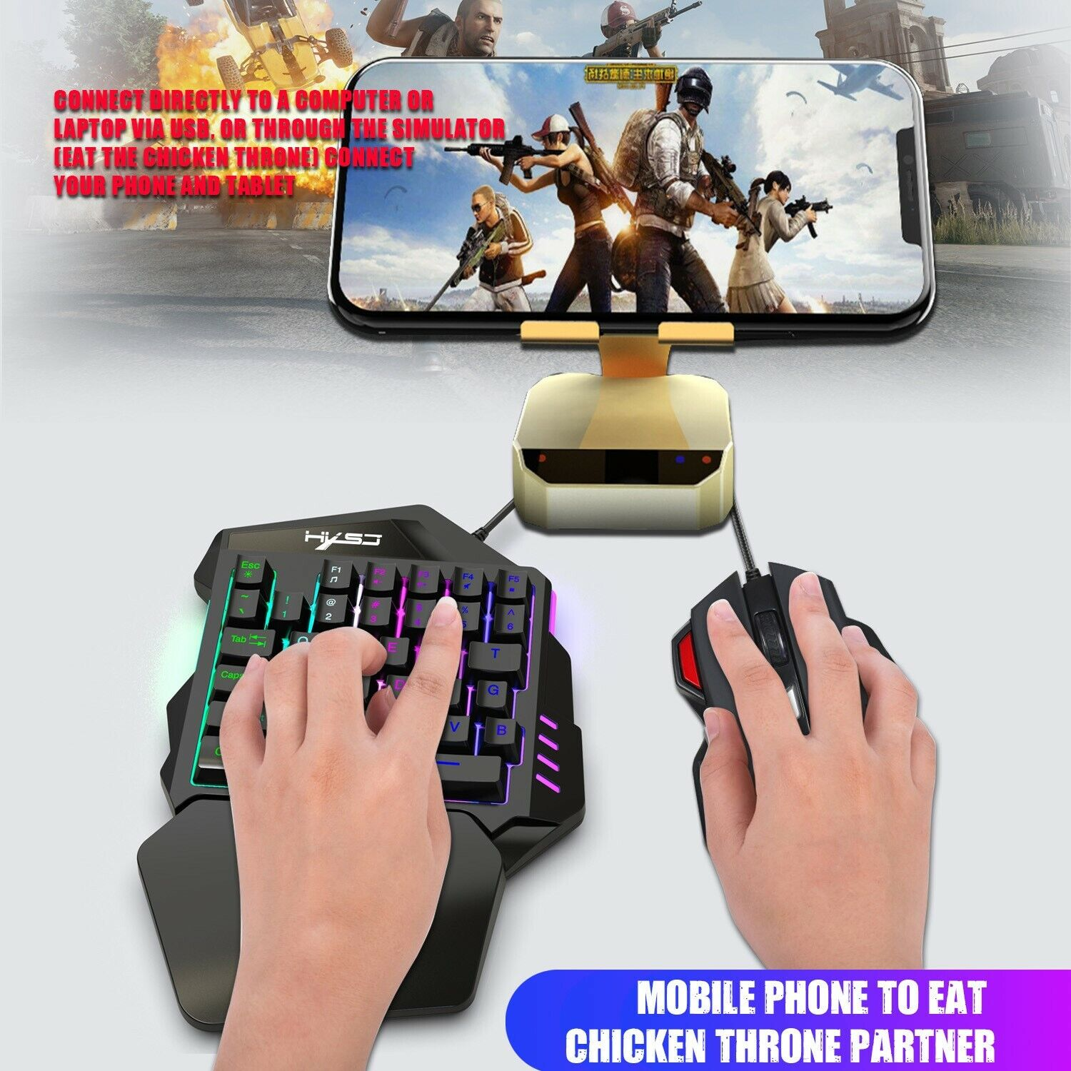 One Hand Video Game Keyboard Keypad LED & Gaming 7 Colors DPI Mouse Set מקלדת יד