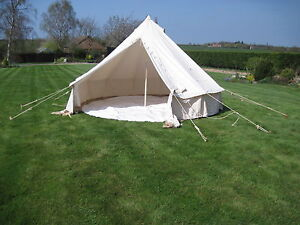 Image is loading 5M-CANVAS-BELL-TENT-BUSHCRAFT-CAMPING-SCOUT-GROUNDSHEET- & 5M CANVAS BELL TENT BUSHCRAFT CAMPING SCOUT GROUNDSHEET GLAMPING ...