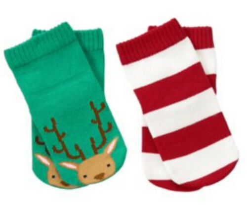 NWT Gymboree HOLIDAY SHOP Reindeer Face Striped 2 Plus Socks Christmas 3-6 M