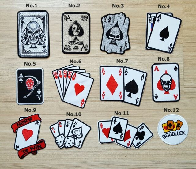 Ace of spades Skull Poker Card Tattoo patch Symbol Jacket T-shirt Patch Sew  Iron