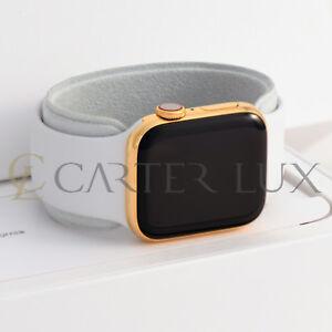 40mm Apple Watch Series 5 Stainless Steel Custom 24k Gold Plated White Sport Ebay