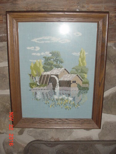 framed needlepoint Grist Mill wwaterwheel reflection on pond BEAUTIFUL
