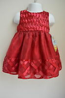 Girls 18m Cinderella Dress Dk Red Woven Satin Ribbon Beaded Wedding Holiday