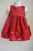 Girls 18m Cinderella Dress Dk Red Woven Satin Ribbon Beaded Wedding Holiday