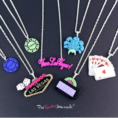 "FUNKY LAS VEGAS CASINO NECKLACE 18"" CUTE KITSCH GLAMOUR GIRL GIFT POKER GAME FUN"