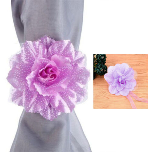 2PCS Window Curtain Tieback Clip-on Peony Flower Tie Holder Drape Home Decor 39