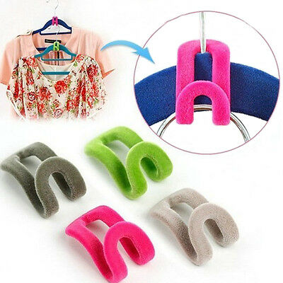 10pcs Home Creative Mini Flocking Clothes Hanger Easy Hook Closet Organizer SI
