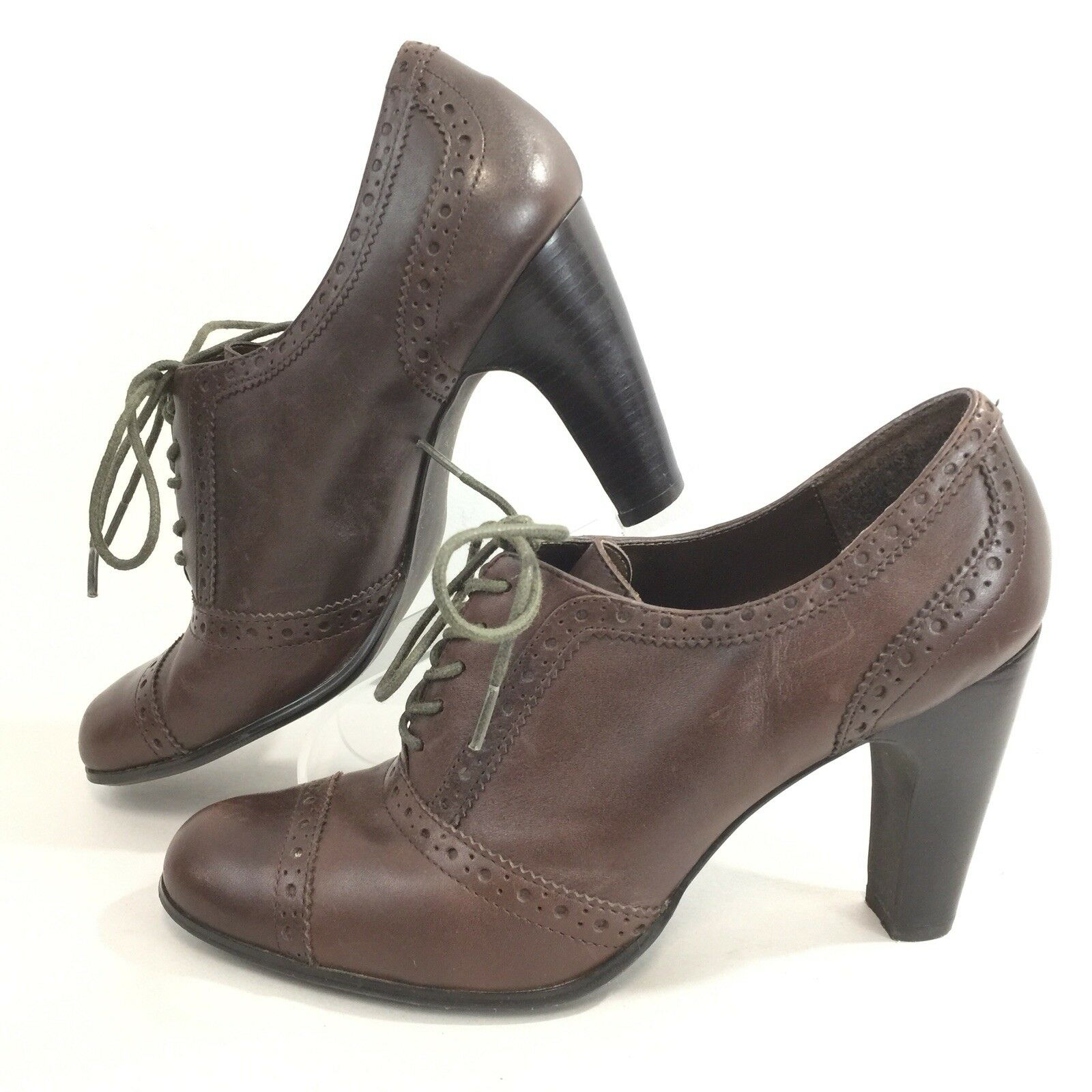 Franco Fortini Womens Sz 7.5 M Cap Toe Lace Up Heels Brown Leather Shooties 7.5M