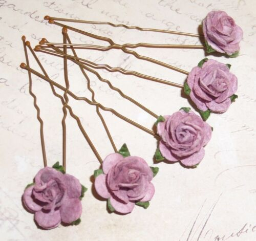 Dark Lilac Rose Hair pins,Flowers,Bridesmaid,Prom,Festival,Boho,Wedding,Vintage