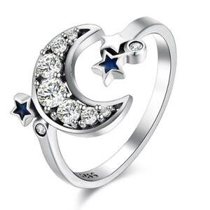 925-Silber-mit-Blau-Stern-Mond-Kristall-Offen-Ringe-Exquisite-Schoene-Populae-amg
