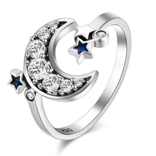 925 Silber mit Blau Stern Mond Kristall Offen Ringe Exquisite Populä@amg #sjpm