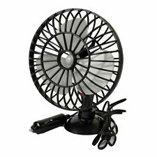 CAR OSCILLATING MINI FAN COOLER CARAVAN VAN SUCTION PAD INTERIOR COOLING 12V 5""
