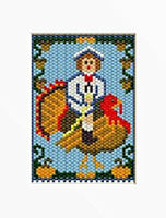 Boy On A Turkey Pony Bead Banner Pattern