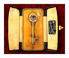 9ct Gold & Enamel Ceremonial Presentation Key (25.3gm). Burnley Lancashire 1916.