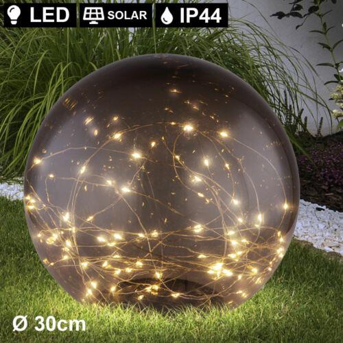 2er Set LED Steck Lampen SOLAR Kugeln rauch Hof Deko Beleuchtung Außen Leuchten