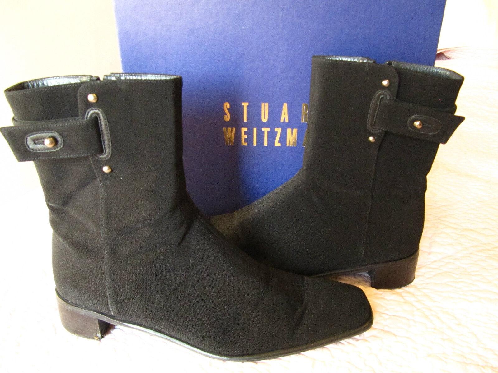 Stuart Weitzman ladies black fabric dress boots sz 8.5  299 1.5 inch heels