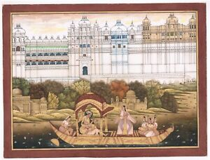 Mughal-Emperor-Enjoying-Love-With-Music-And-Dance-On-Boat-Indian-Art-Painting