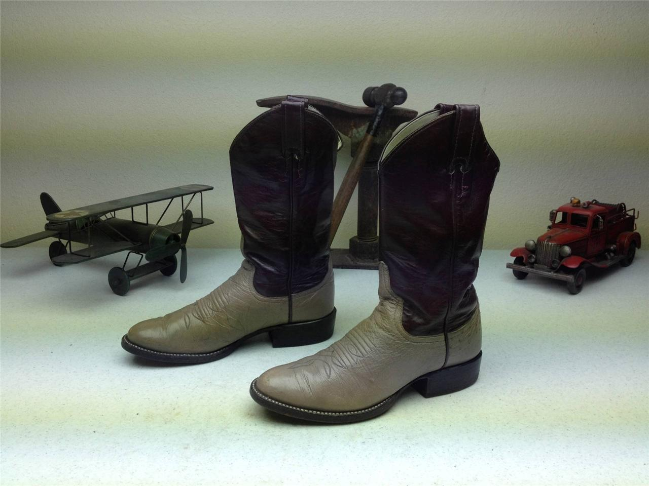 LARRY MAHAN MADE IN USA TAUPE LAVENDER DISTRESSED WESTERN COWBOY BOOTS SIZE 6B
