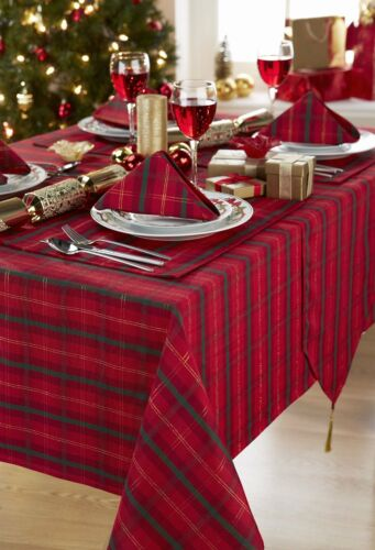 TARTAN CHECK TABLE CLOTHS RED GOLD GREEN DINNER PARTY FESTIVE CHRISTMAS XMAS