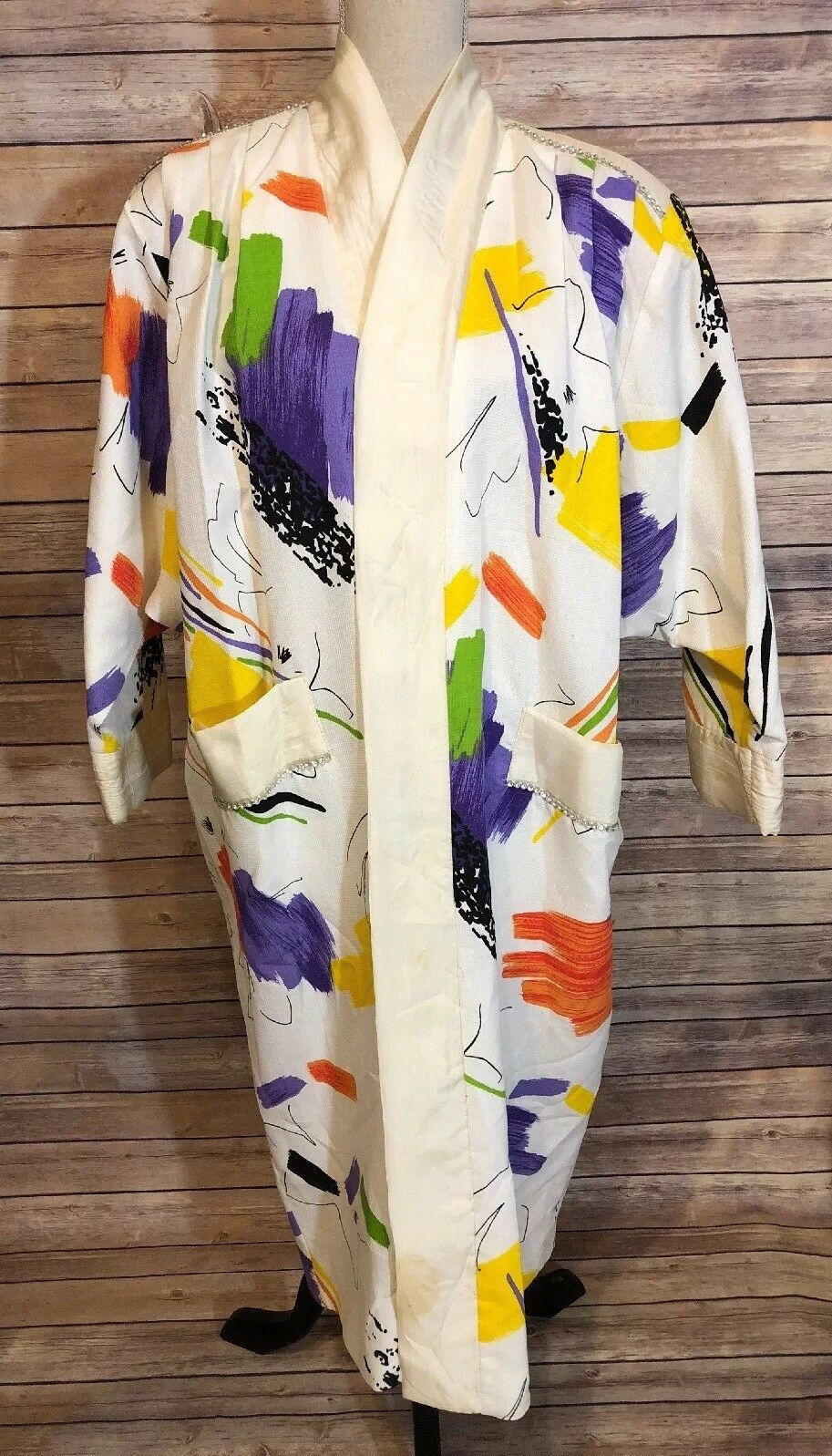 Vintage Artsy Beaujon Paris Womens Abstract Gown Robe Kimono White Size read