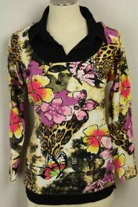 cheap for discount b8298 1f364 Details zu Damen Pullover Oberteil Pulli Bluse Blumen Schmetterlinge Perlen  Viskose IMAGINI