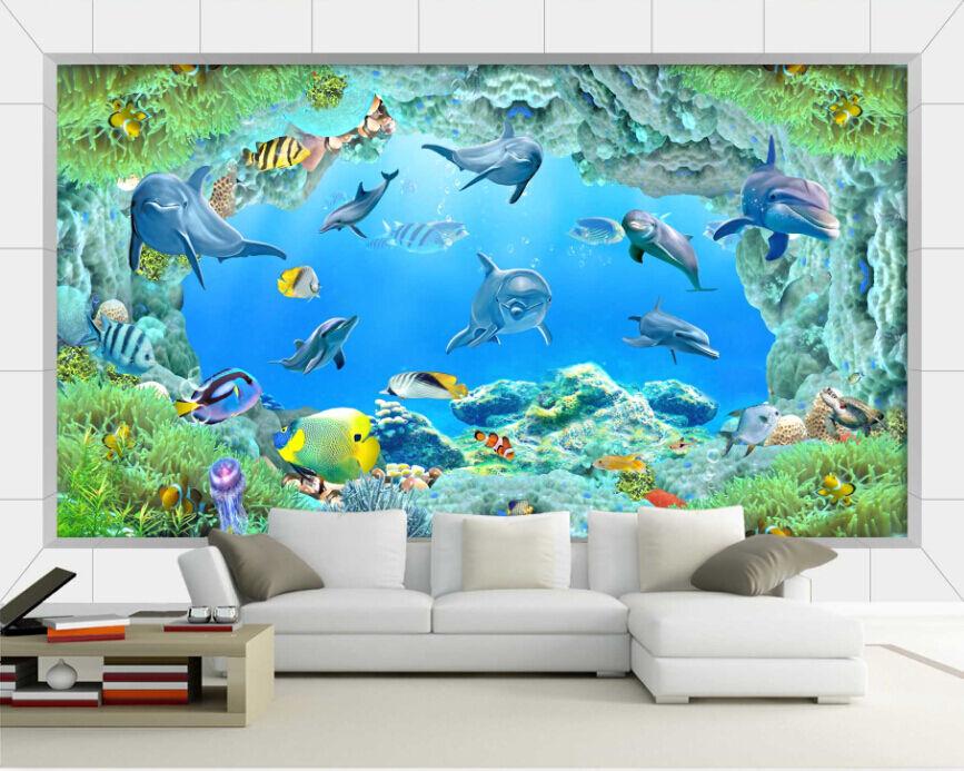 3D Sea World Sharks 4 Paper Wall Murals Print Decal Wall Wall Murals Wall AJ WALLPAPER GB 4c86cb