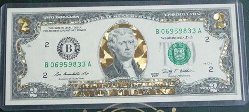 2009 $2 UNC Note Gold Hologram 3D