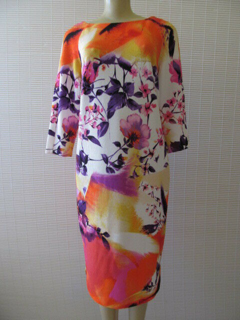 BEIGE BY ECI MULTI-COLOR FLORAL DESIGN 3 4 SLEEVE DRESS SIZE M - NWT