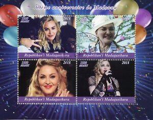 Madagascar-2018-CTO-Madonna-60th-Bday-4-V-M-S-Music-Popstars-Celebrites-timbres