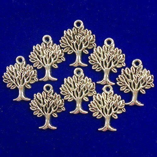 12Pcs sculpté Tibetan Silver Tree of Life Pendentif Perles 22x15x2mm D47903