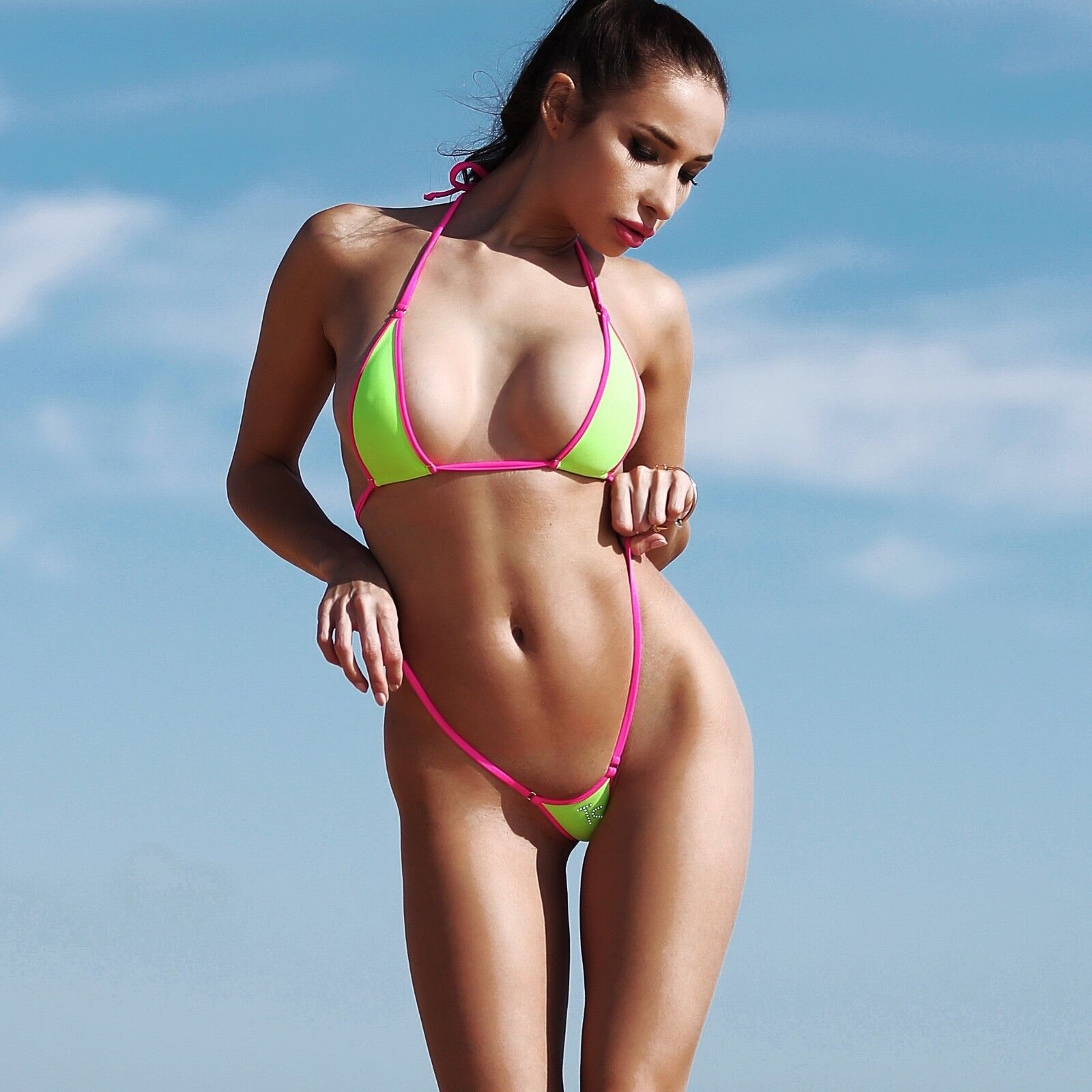 TS Hot Sexy cute Micro Bikini Extreme String Two Piece Mini Swimsuit Thong Set