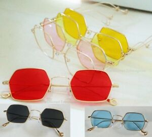 a16563dfa Image is loading Color-or-Clear-Hexagon-Lens-Glasses-Lightweight-Gold-