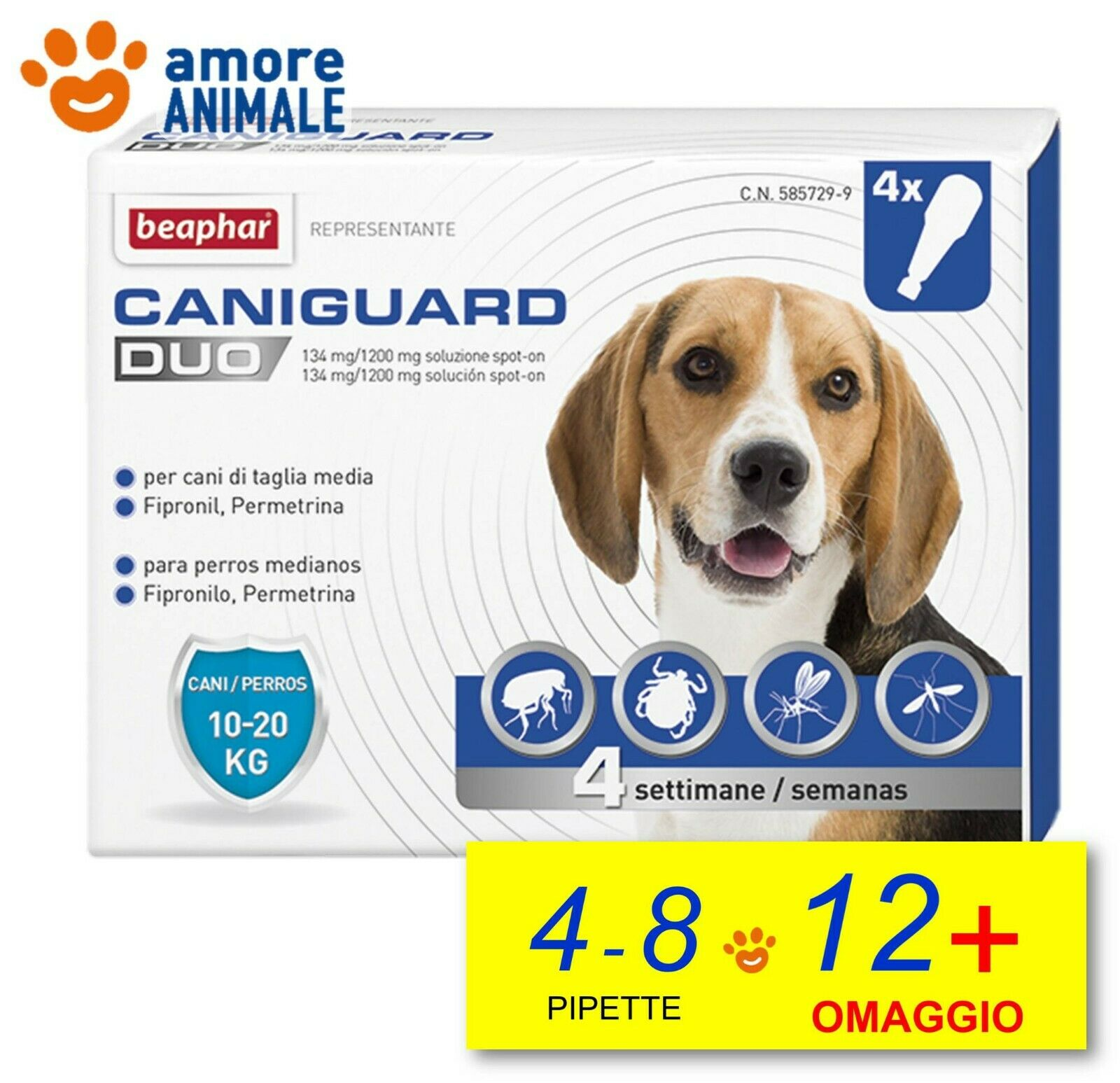Beaphar Caniguard Duo  4 pipette cani 1020 kg   M   Antiparassitario cane