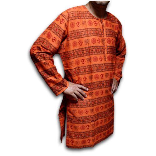 Shirts for Men Tunics for Women Kurta for Men Om Shirt Soft Cotton Blue Saffron