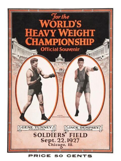 Gene Tunney vs Jack Dempsey *LARGE POSTER* Heavyweight Fight 1927 Boxing Rematch