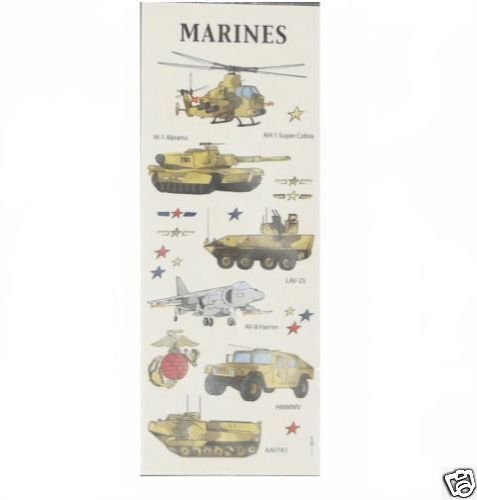"2 SHEETS OF STICKABILITIES /""MARINES/"" STICKERS"
