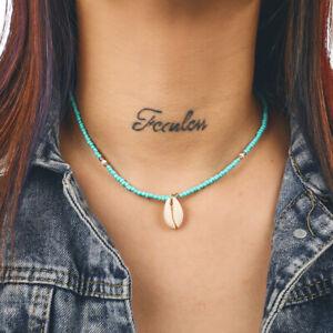 Boho-Bohemian-Sea-Shell-Beaded-Pendant-Chain-Choker-Necklace-Women-Beach-Jewelry