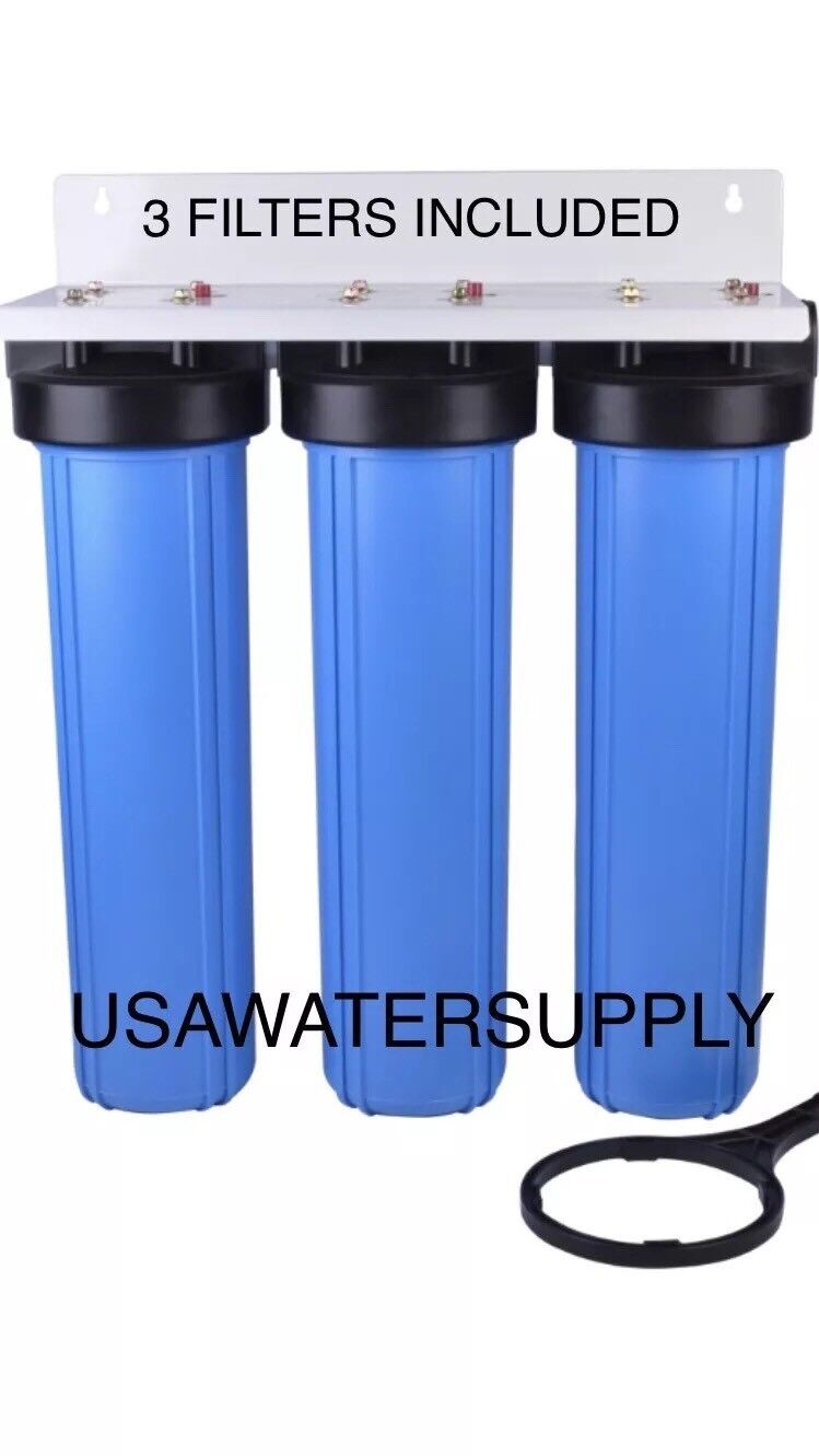 3-Stage Big bleu 20  Whole House System 1  Port+Sediment Water Filters RV