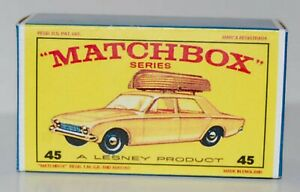 Matchbox-Lesney-No-45-FORD-CORSAIR-WITH-BROWN-BOAT-style-E-empty-Repro-Box