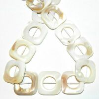 """MP2369L2 Natural White Mother of Pearl 25mm Flat Square Donut Shell Beads 14"""""""